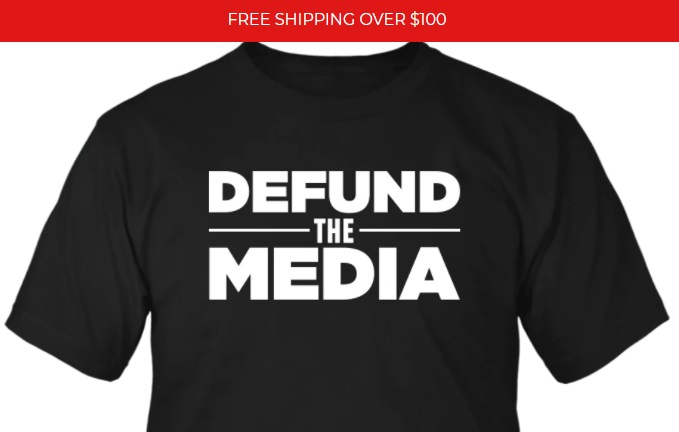 Defund the media - black t-shirt from the MAGA-Shop! Only $19.99
