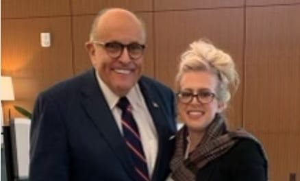 Melissa Carone with Rudy Giuliani before her testimony in front of the MI House Oversight Committee on Voter Fraud.
