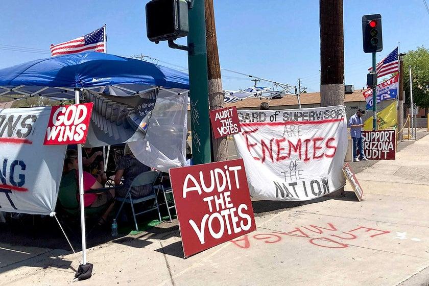 The pro-audit camp outside the Arizona Veterans Memorial Coliseum. Jeremy Stahl